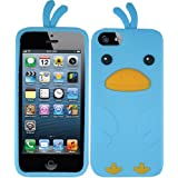 Light Baby Blue Bird Silicon Soft Rubber Skin Case Cover For Apple iPhone 5 5S w/ Free Pouch