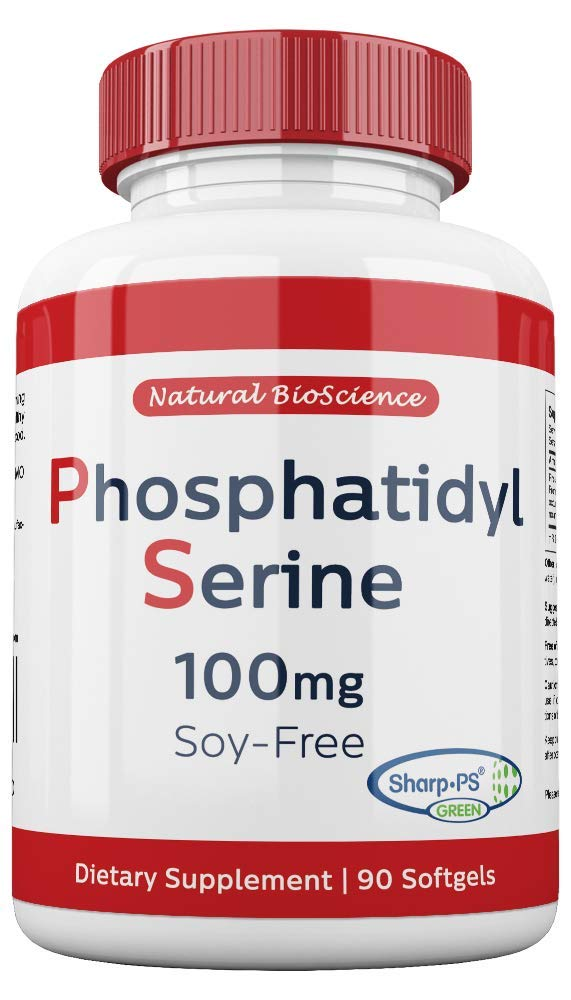 Phosphatidylserine Soy-Free 100mg, 90 Count, Patented Sharp-PS Formula, Phosphatidylserine Complex from Sunflower Lecithin, Natural Brain Booster for Memory and Focus, Soy-Free, Allergen-Free, Non-GMO