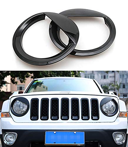 (Bolaxin Black Bezels Front Light Headlight Angry Bird Style Trim Cover ABS for Jeep Patriot 2011-2017 Model )