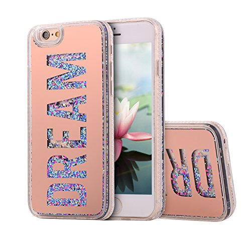 Waterfall Design - Gostyle iPhone 6S Case,iPhone 6 Cover,Beauty Creative Flowing Liquid Floating Quicksand Bling Glitter Mirror Dream Protective Cover with Soft TPU Bumper and Hard Back Plate-Rose Gold