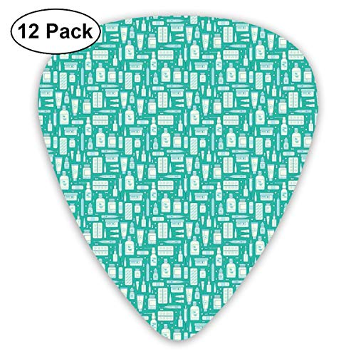(Guitar Picks 12-Pack,Pharmacy Themed Pattern With Pills Drugs Bottles And Balms )