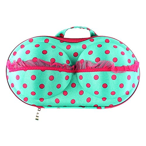 American Trends Bra Case Lingerie Underwear Packing Travel Organizer (FBA) Blue Color Dots