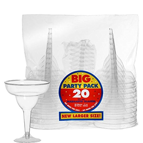 amscan Big Party Pack Clear Plastic Margarita Glasses | 11 oz. | Pack of 20 | Party Supply