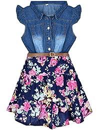 Girls Dresses Denim Floral Swing Skirt Belt Girls Fahion Clothes