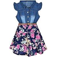 YJ.GWL Girls Dresses Denim Floral Swing Skirt Belt Girls Fahion Clothes