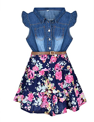 (YJ.GWL Girls Dresses Denim Floral Swing Skirt with Belt Girls Fashion Clothes)