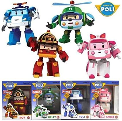 Amazon Com Academy 4 Pcs Cute Robocar Poli Ambe Roy Helly Robot