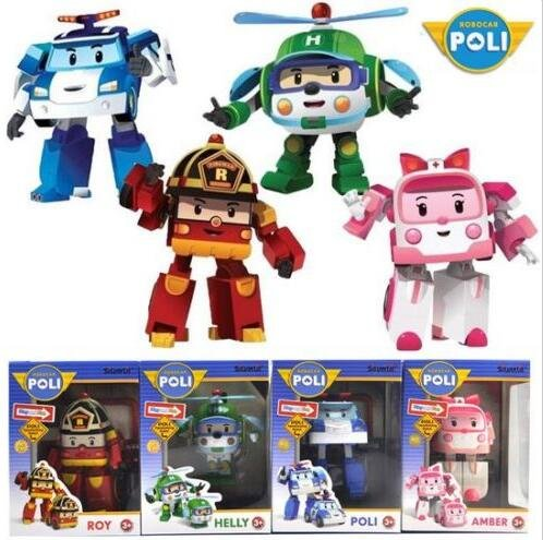 [Academy] 4 pcs Cute Robocar Poli Ambe Roy Helly Robot Transformers Toys Kids Educational (Robot Poli)
