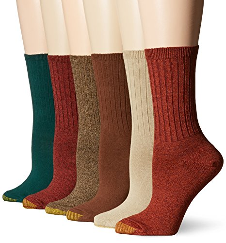 Gold Toe Women's Ribbed Crew Sock, Rust/Winter Khaki/Evergreen/Grey Heather/Brown/Coffee, 9-11 (Pack of 6) (Toe Winter Socks)