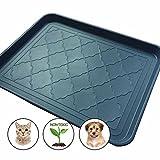 Easyology Pets Premium Large Pet Food Mat - Non Skid - Dog - Cat - Feeding Tray 17.5'' x 14'' (Dark Grey)
