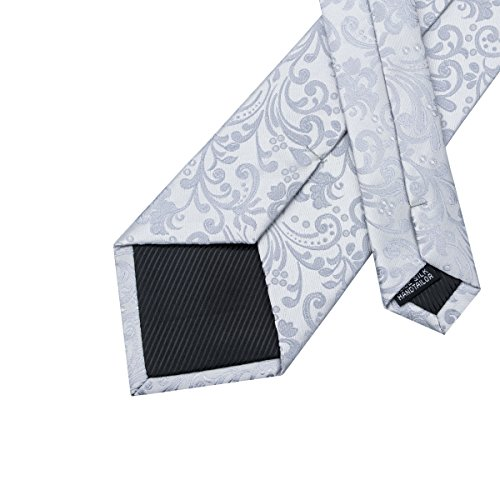 for and Silver DiBanGu Handkerchief Floral Cufflinks Tie Woven Necktie Silk Regullar Men Tie Set AAOzxH