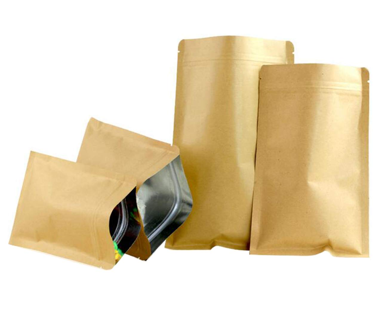 50PCS (5.5Mil) Brown Kraft Carta ermetica a base piatta Borsa a chiusura lampo con cerniera sacchetti caffè tè in polvere di imballaggio Organizzatore titolare di alluminio sacchetto di alluminio per Candy Snack Nut Cibo secco(6CM x 8CM) Upstore