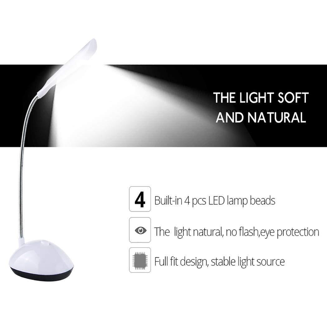 6.3inch LED Desk Lamp 360 Degree Rotating Eye Protection Reading Book Lights Desk Lamps (White)