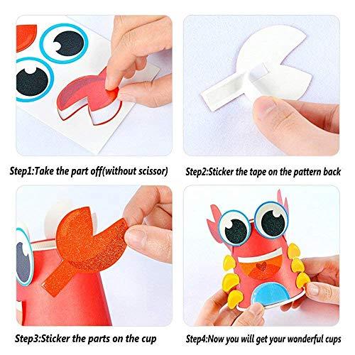 Toddler Paper Craft Art Kit Diy Handmade Paper Cups 12pcs