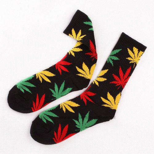 Marijuana Weed Leaf Men/Women sport socks colourful Cotton High Socks (BJF25-11black+red&yellow&green leave)
