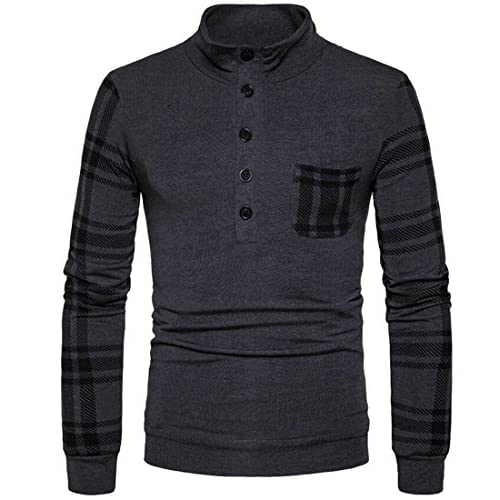 Cheap Domple Men Stylish Striped Patchwork Pocket Buttons Stand Collar Pullover Sweater