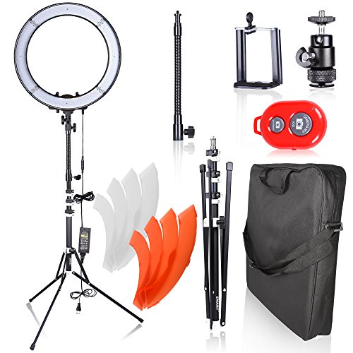 Emart Ring Light Photo Video Lighting Kit, 18 inch 55W 5500K Dimmable LED Circle Light for Photography Portrait Shooting, Light Stand,Plastic Color Filter Set,Hot Shoe Adapter and Bluetooth Receiver by EMART