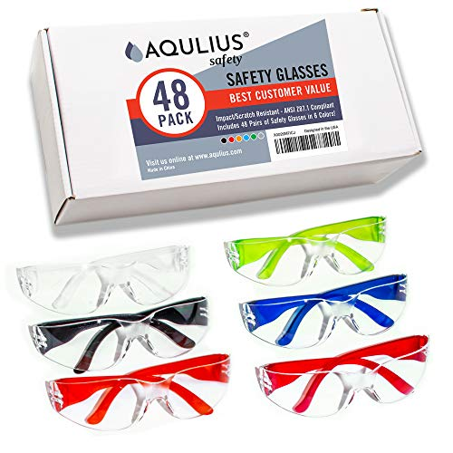 48 Pack of Safety Glasses (48 Protective Goggles in 6 Different Colors) Crystal Clear Eye Protection – Perfect for Construction, Shooting, Lab Work, and More!