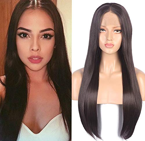 Fennell Black Brown Long Silky Straight Synthetic Lace Front Wigs For Women Heat Resistant Fiber Hair Wig (Lace Black Wigs Front)