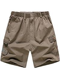 Men's Casual Cotton Twill Cargo Shorts Elastic Waistband