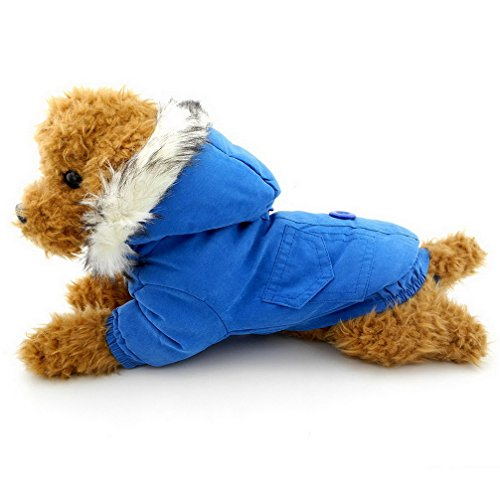 Ranphy Small Dog Cat Winter Coat Hoodies Thick Cotton-padded Cold Weather Dog Jacket Scarf Bear Patch Chihuahua Clothes Windproof Blue XXL - Fido Fleece Coats