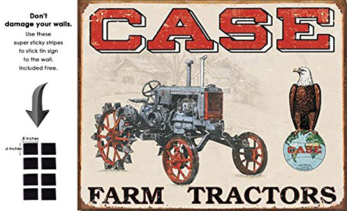 Shop72 - Farmall Case Tractor Tin Sign Retro Vintage Distrssed - With Sticky Stripes No Damage to Walls (Case Tractor Tin Sign)