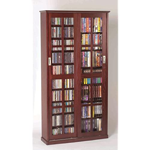 LDE LESLIE DAME Leslie Dame MS 700DC Mission Multimedia DVD/CD Storage  Cabinet With Sliding Glass Doors, Cherry