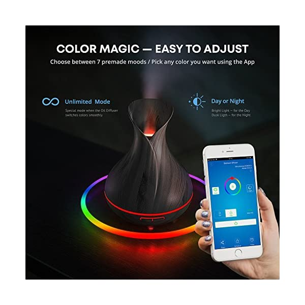 Smart WiFi Wireless Essential Oil Aromatherapy 400ml Ultrasonic Diffuser & Humidifier with Alexa & Google Home Phone App… 3
