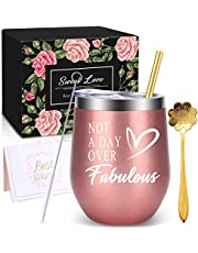 WONDAY Gifts for Women-Christmas Birthday Gifts for Mother-Wine Gifts Ideas for Women, BFF, Best Friends, Wife, Daughter, Sister, 12 OZ Stainless Steel Wine Tumbler with Lid and Coffee Spoon