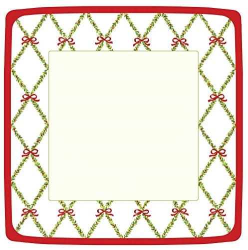 Entertaining with Caspari Garden Trellis Square Dinner Plates, Red, Pack of 8 -