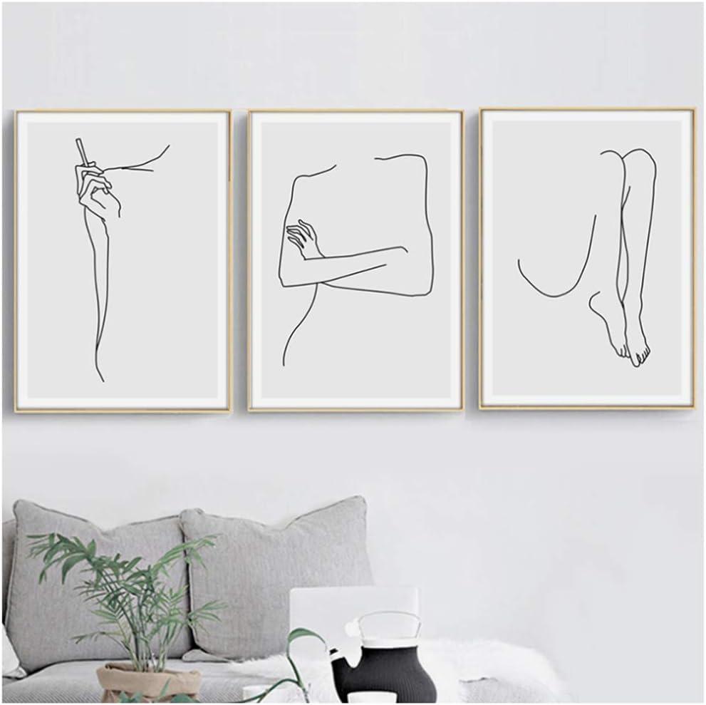 Arte de la pared Lienzo Pintura nórdica Carteles e impresiones Lienzo Curva Cuerpo Cuadros abstractos para el dormitorio Decoración del hogar 40x50cm (15.7