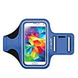 Galaxy S5 Armband, J&D Sports Armband for Samsung Galaxy S5, Key holder Slot, Perfect Earphone Connection while Workout Running (Samsung Galaxy S5, Blue)