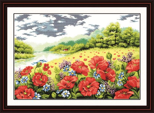 Benway Counted Cross Stitch Beautiful Poppy Flowers And Gree