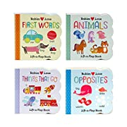 4 Pack Chunky Lift-a-Flap Board Books: First Words/Animals/Opposites/Things That Go (Babies Love)