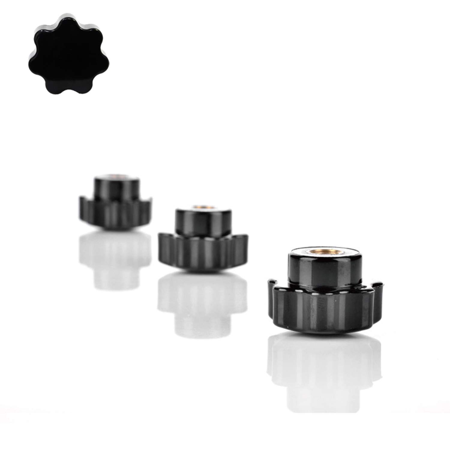 YouU 15 Pack M6 Knurled Thread Clamping Knob,Black Plastic Screw-On Handle Clamping Knob