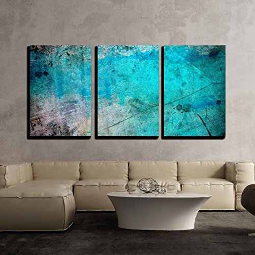 wall26 - 3 Piece Canvas Wall Art - Blue and Splatter Ink Watercolor Paint Background - Modern Home Decor Stretched and Framed Ready to Hang - 16
