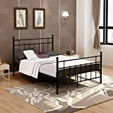 DUMEE Full Size,Metal Bed Frame With Modern Headboard and Footboard Steel Slat Mattress Foundation Black