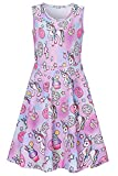 Little Girls Unicorn Dress Size 4 5 Baby Kids Casual Floral 3D Print Pretty Cute Pink Blue Animal Graphic Princess Fancy Swing A-line Sundress for Birthday Dance Party Ice Cream Pegasus Midi Dresses