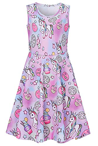 Little Girls Unicorn Dress Size 4 5 Baby Kids Casual Floral 3D Print Pretty Cute Pink Blue Animal Graphic Princess Fancy Swing A-line Sundress for Birthday Dance Party Ice Cream Pegasus Midi Dresses -