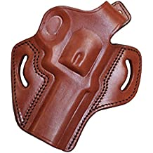 """Leather Belt Holster Revolver S&W 686 4"""" Barrel Level 2 Retention Made by Tagua"""