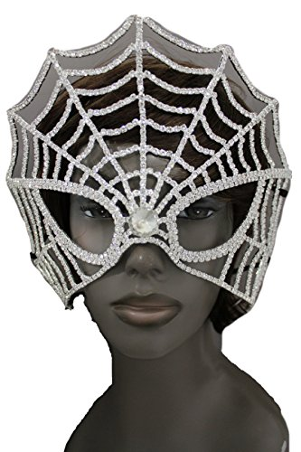 Online Halloween Costume Contests 2016 (TFJ Women Halloween Full Face Huge Eye Mask Fashion Costume Spider Web Metal Silver)