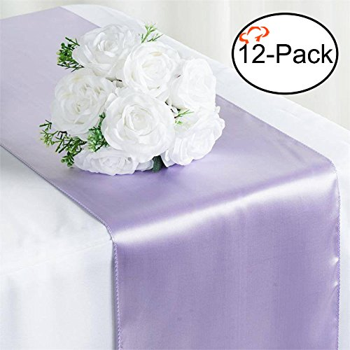 Tiger Chef 12-Pack Lavender 12 x 108 inches Long Satin Table Runner for Wedding, Table Runners fit Rectange and Round Table Decorations for Birthday Parties, Banquets, Graduations, -