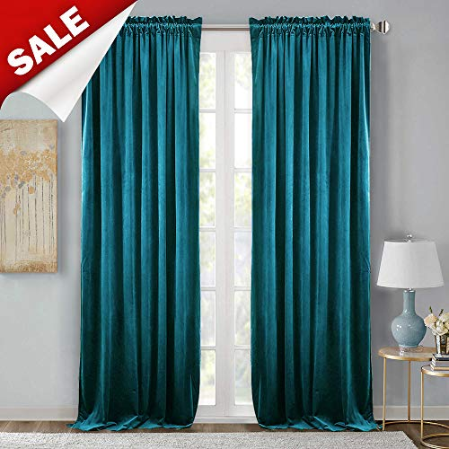 Living Room Velvet Curtain Panels - Spring Decoration Blackout Velvet Drapes Sound Lower Privacy Enhancing Energy Efficient Panels for French Door, Peacock Blue, 52