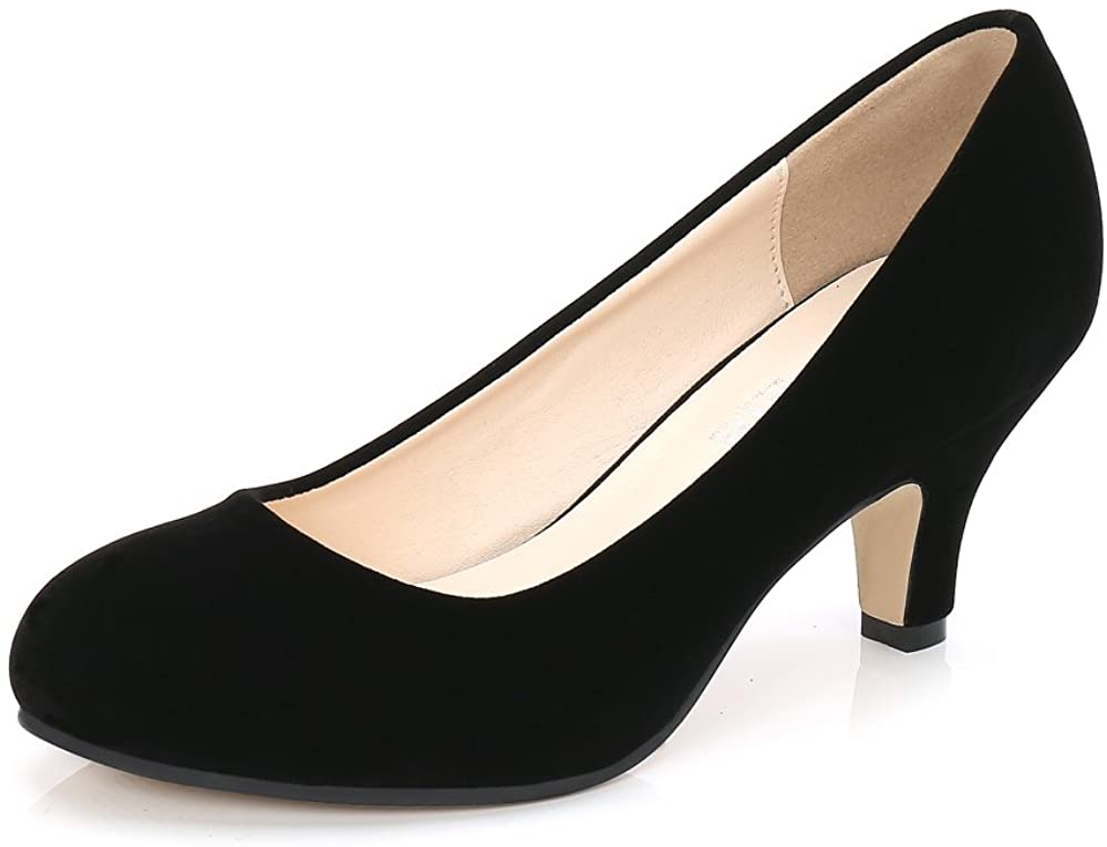 OCHENTA Women's Kitten Heel, Round Toe Slip On Comfort Bridal Dress Pump