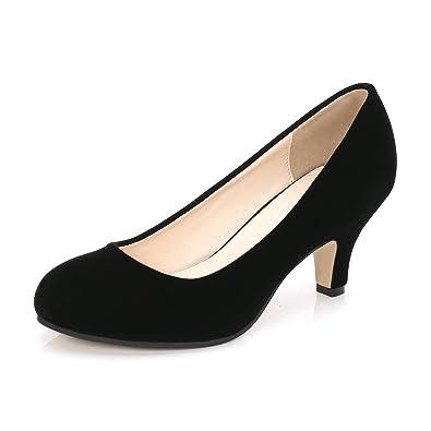 114169b12ff OCHENTA Women s Closed Round Toe Low Kitten Heel Slip On Dress Pump Black  Velvet Tag 46