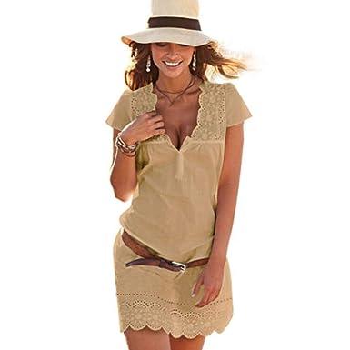 nouveau concept 88888 6093a KPILP Robe Sexy Femme - Printemps et Eté Manche Courte Dentelle Col en V  Robe - Confortable Polyester Couleur Unie La Mode Robes Femme