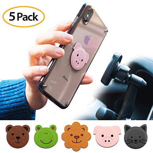 Ringke Magnetic Character Metal Plate Kit - Animal Edition (5 Pack, 1 Each) with 3M Adhesive Pad Compatible with Magnet Phone Car Mount Holder for Smartphone, iPad, Tablet, and Other Devices (Charms Pig Phone)