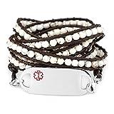 StickyJ USA Natural White Turquoise Multi Wrap Medical Alert Bracelet