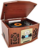 Pyle Vintage Turntable - Retro Vinyl Stereo System With Bluetooth, Cassette and CD Player, USB Recorder, SD Card and Speakers-Record AM/FM Radio and Audio Files to MP3 with Remote and LCD(PTCDS7UBTBW)