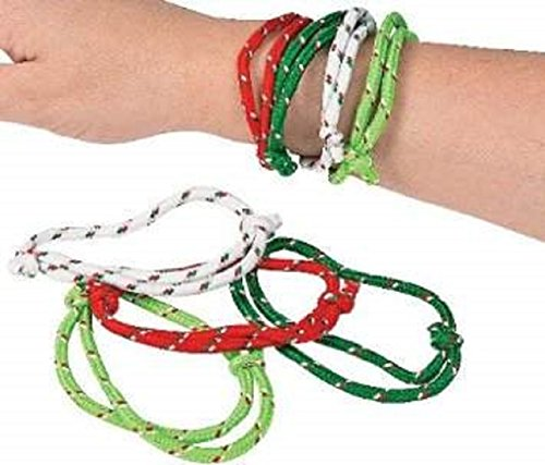 Adjustable Nylon Christmas Rope Bracelets - 12 (Nylon Friendship Rope Bracelets)